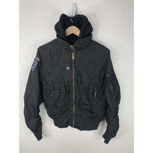 Alpha Industries Flight Bomber Jacket Size XS Black Hood Military